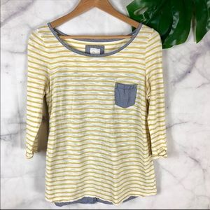 Anthropologie Yellow Striped 3/4 Sleeve Top Size:S